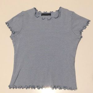 Brandy Melville Blue and White Striped Ruffle Top